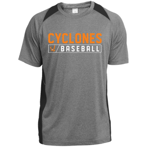 Cyclones Bar Logo (orange) Youth Colorblock Performance T-Shirt