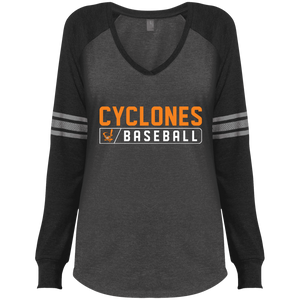 Cyclones Bar Logo (orange) Ladies' Game LS V-Neck T-Shirt