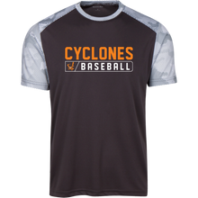 Load image into Gallery viewer, Cyclones Bar Logo (orange) CamoHex Colorblock T-Shirt