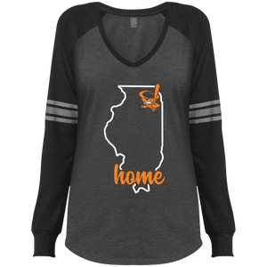 Cyclones Home Ladies' Game LS V-Neck T-Shirt