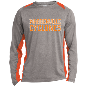 Cyclones WM  Long Sleeve Heather Colorblock Poly T-Shirt