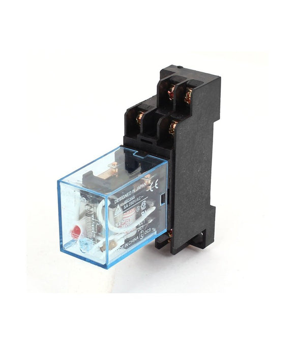 DPDT Control Relay with Din-rail Base Socket