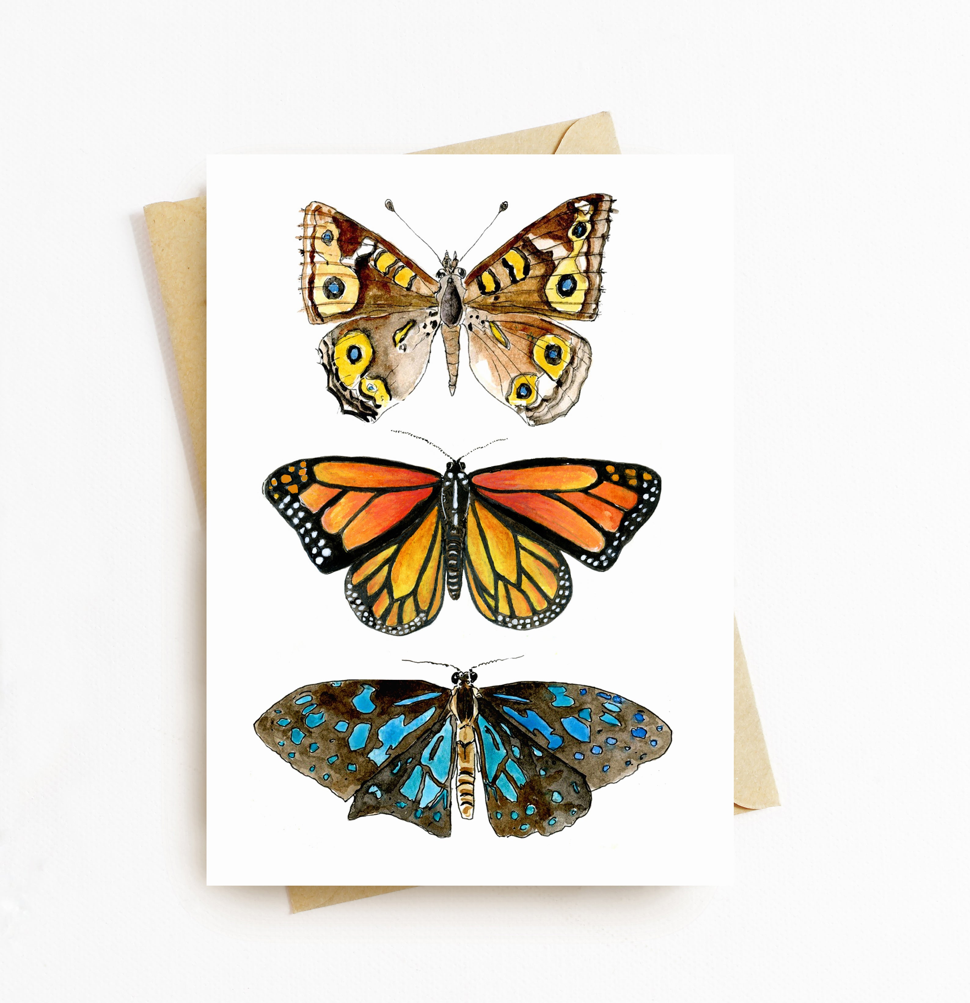 Three butterfly card