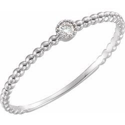 White Gold Beaded Bezel Diamond Ring - Ilumine Gallery Store dainty jewelry affordable fine jewelry