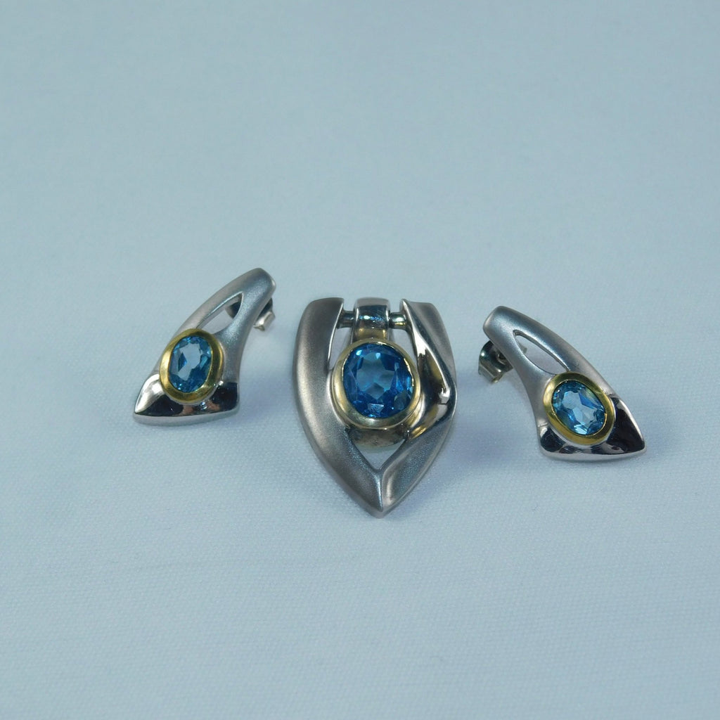 SS 925 with 14K Gold and Blue Topaz earrings and pendant - Ilumine Gallery Store dainty jewelry affordable fine jewelry