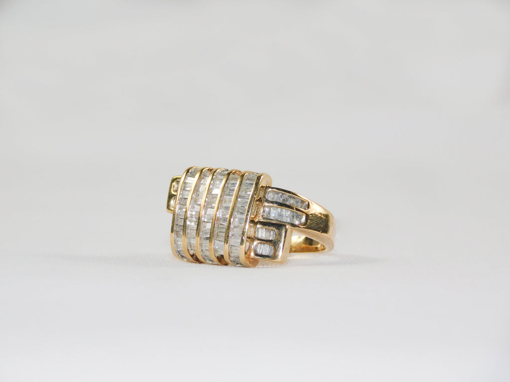 14K solid gold ring with 120 baguettes 2ctw - Ilumine Gallery Store dainty jewelry affordable fine jewelry