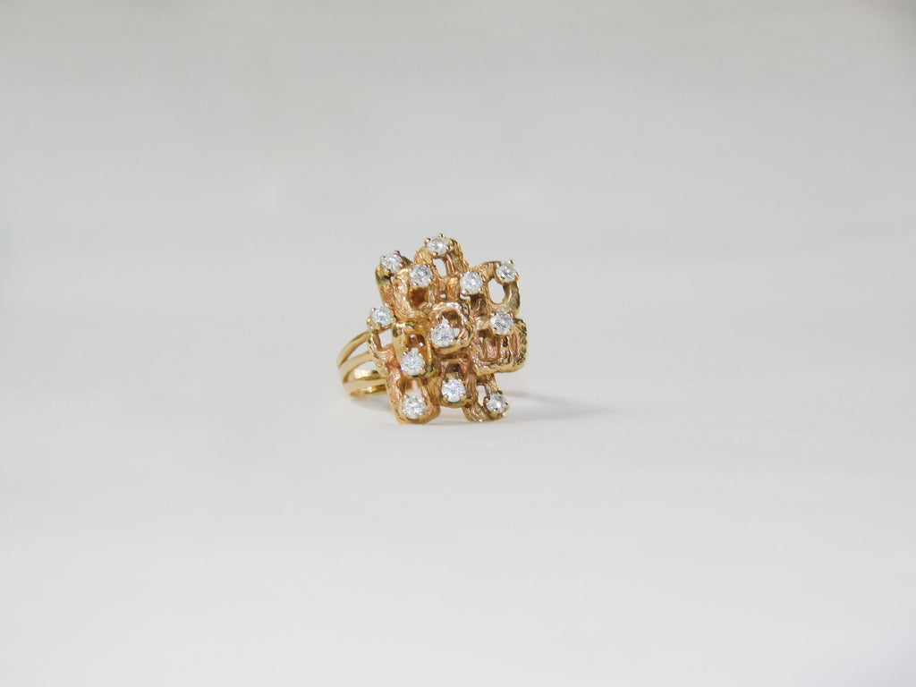 Solid yellow gold diamond ring - Ilumine Gallery Store dainty jewelry affordable fine jewelry