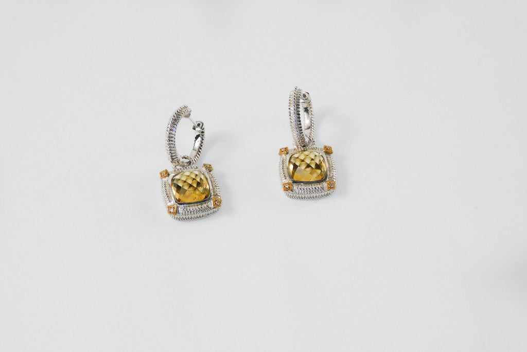Yellow gold and sterling silver earrings - Ilumine Gallery Store dainty jewelry affordable fine jewelry