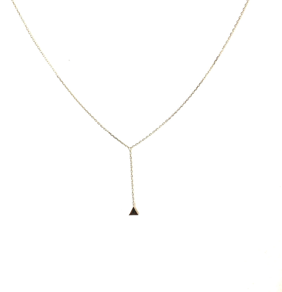 Gold or silver hanging triangle necklace - Ilumine Gallery Store dainty jewelry affordable fine jewelry