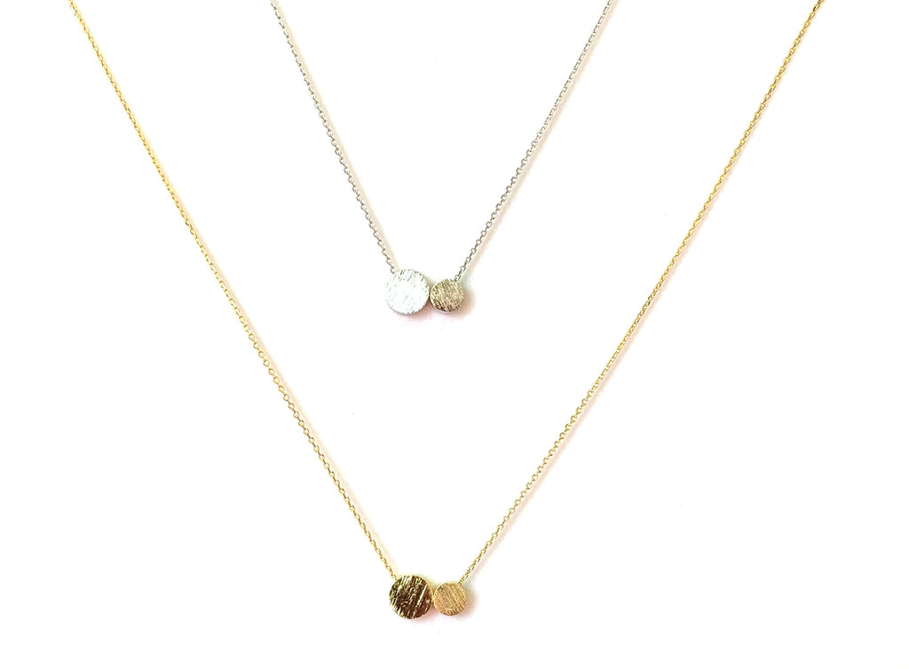 Necklace yellow gold vermeil and sterling silver with flat round balls - Ilumine Gallery Store dainty jewelry affordable fine jewelry