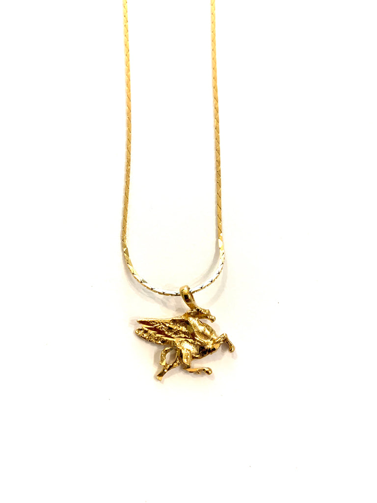Gold flying horse necklace