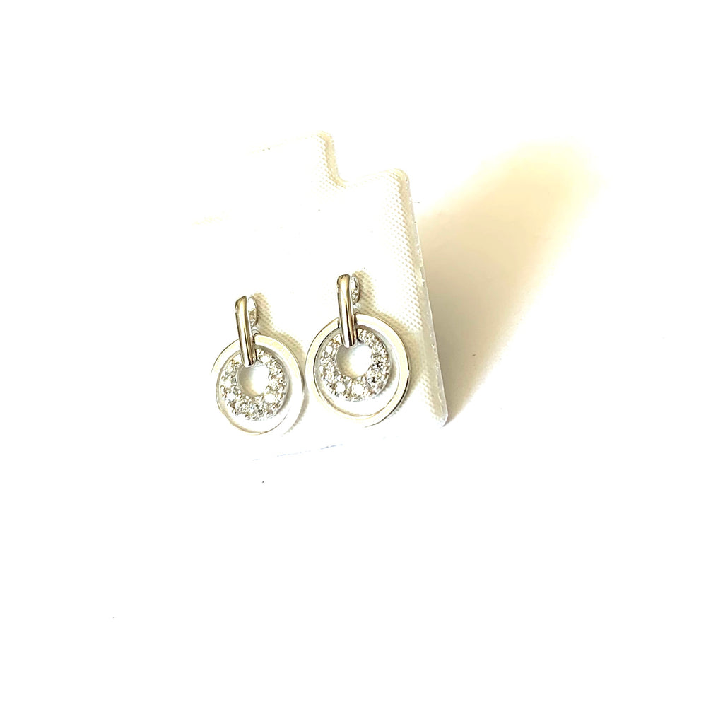 Earrings sterling silver circle studs with crystals - Ilumine Gallery Store dainty jewelry affordable fine jewelry