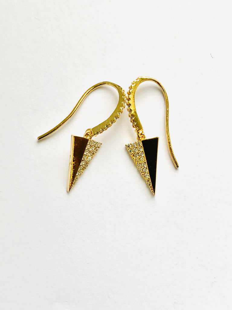 Earrings yellow gold overlay and sterling silver triangle earrings - Ilumine Gallery Store