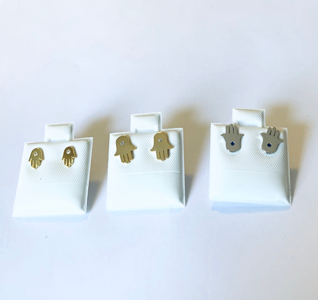 "Earrings yellow gold and sterling silver hand ""Hamsa"" studs - Ilumine Gallery Store dainty jewelry affordable fine jewelry"