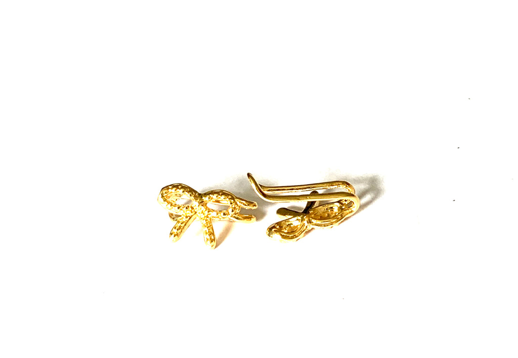 Earrings yellow gold bow ear cuff - Ilumine Gallery Store