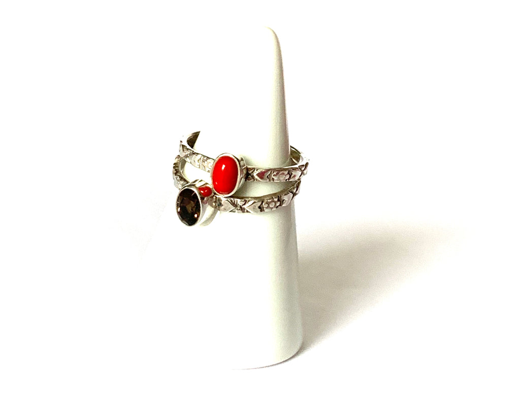Ring sterling silver with red jasper or amber gemstones - Ilumine Gallery Store dainty jewelry affordable fine jewelry