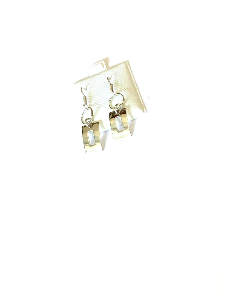 Earrings sterling silver hanging rectangular earrings - Ilumine Gallery Store dainty jewelry affordable fine jewelry
