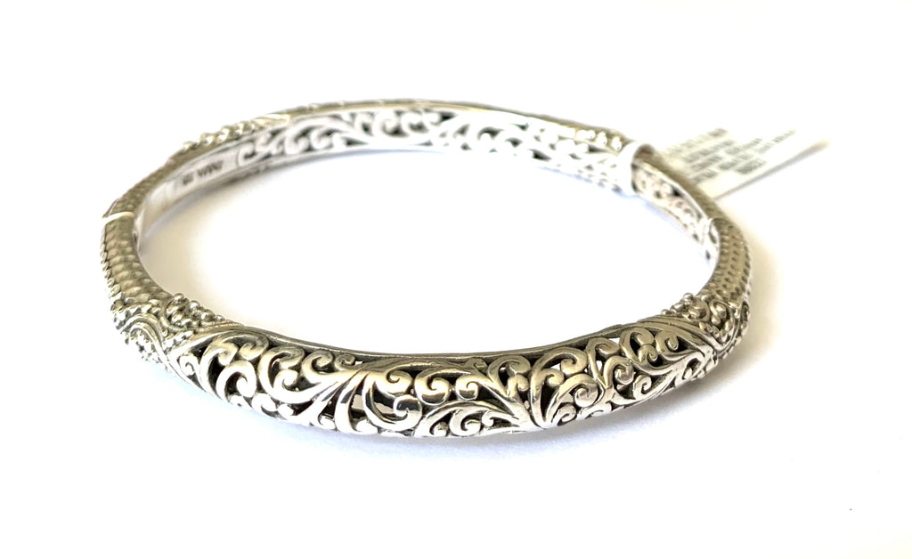 Bracelet sterling silver filigree hinged bangle - Ilumine Gallery Store dainty jewelry affordable fine jewelry