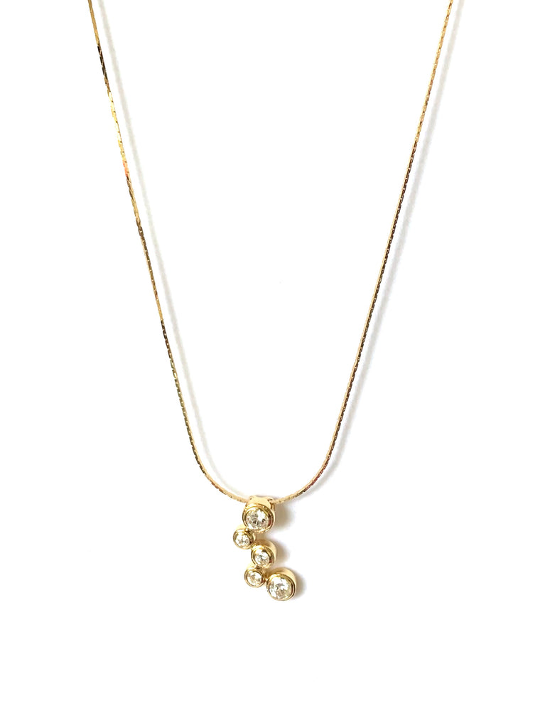 Necklace yellow gold overlay with five bezel cz's - Ilumine Gallery Store dainty jewelry affordable fine jewelry