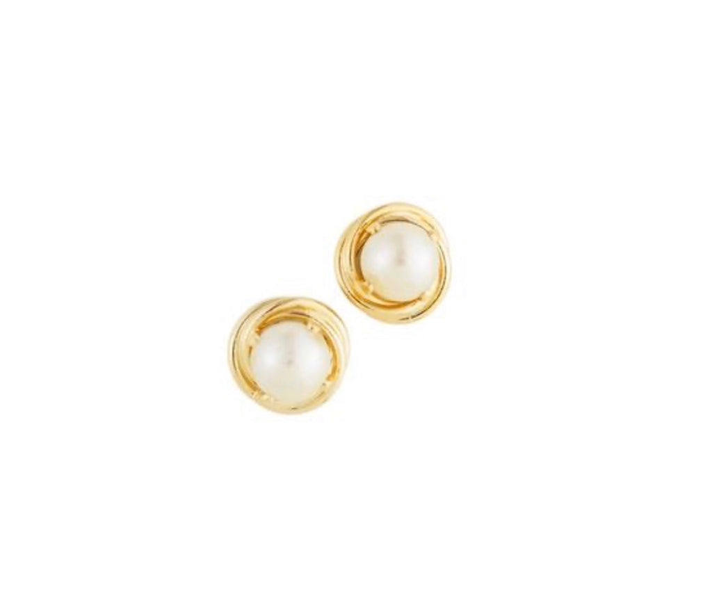Earrings yellow gold studs with pearls - Ilumine Gallery Store