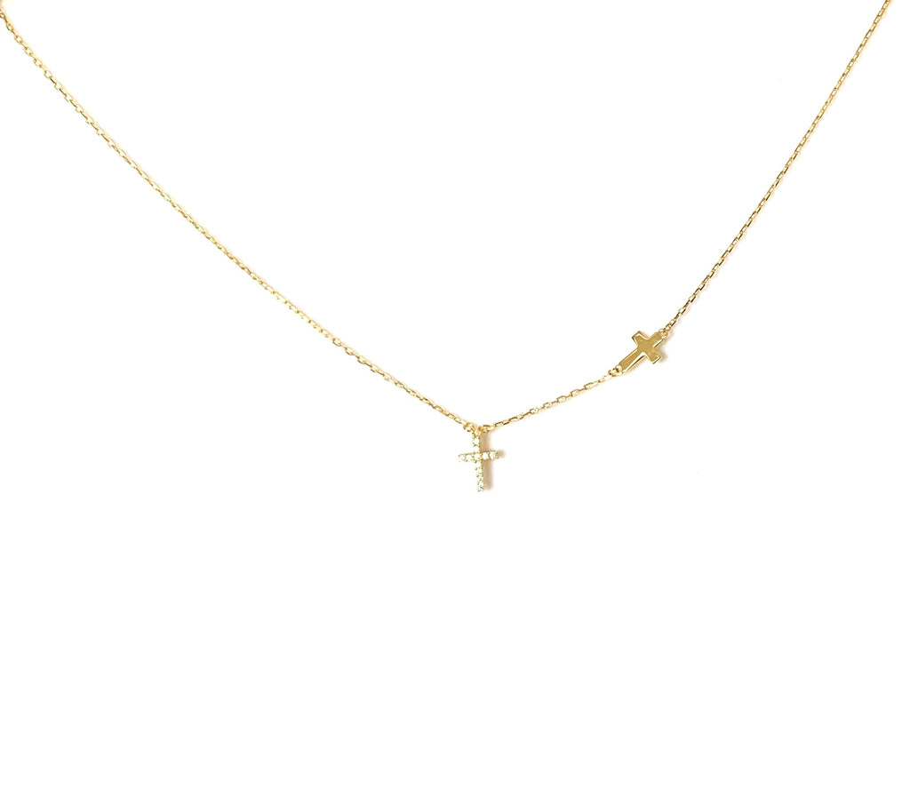 Necklace yellow gold or sterling silver two crosses pendant - Ilumine Gallery Store dainty jewelry affordable fine jewelry