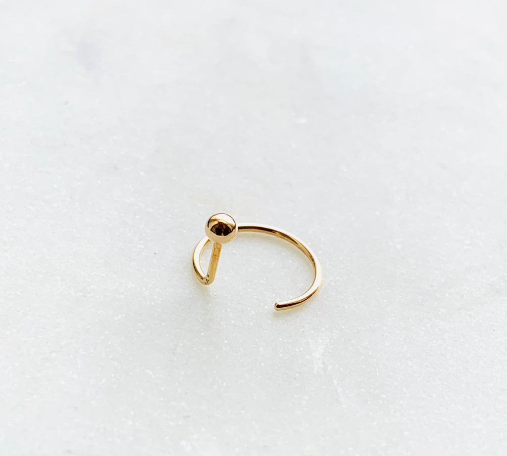 Earrings solid yellow gold ear nut - Ilumine Gallery Store dainty jewelry affordable fine jewelry