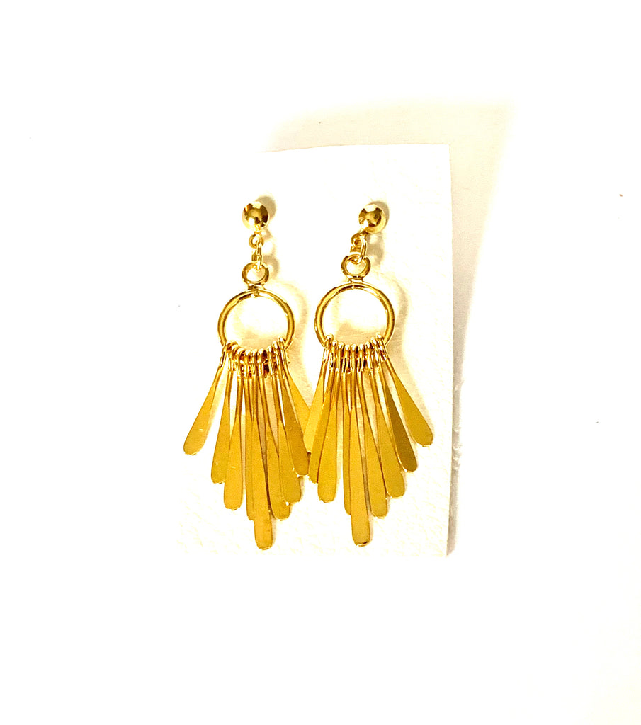 Earrings yellow gold hanging earrings - Ilumine Gallery Store dainty jewelry affordable fine jewelry