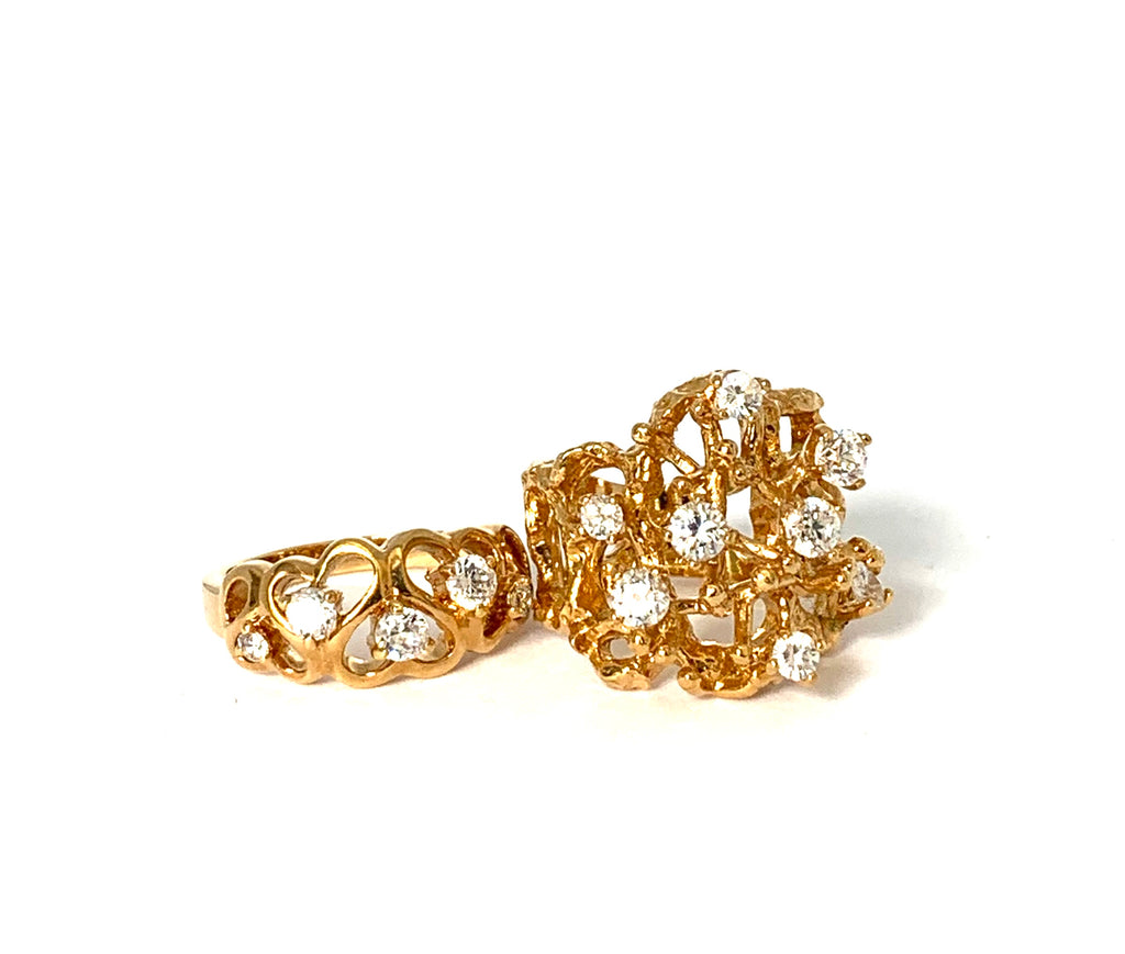 Rings yellow gold overlay with cz's - Ilumine Gallery Store dainty jewelry affordable fine jewelry