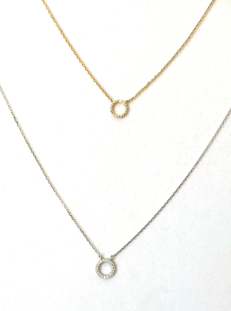 Necklace yellow gold vermeil with small crystal circle - Ilumine Gallery Store dainty jewelry affordable fine jewelry