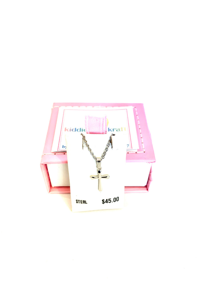 Necklace sterling silver child's cross pendant - Ilumine Gallery Store dainty jewelry affordable fine jewelry