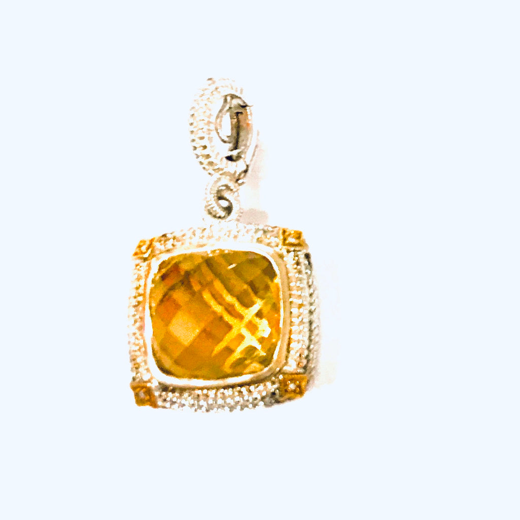 Gold and silver diamonds and citrine pendant - Ilumine' Gallery