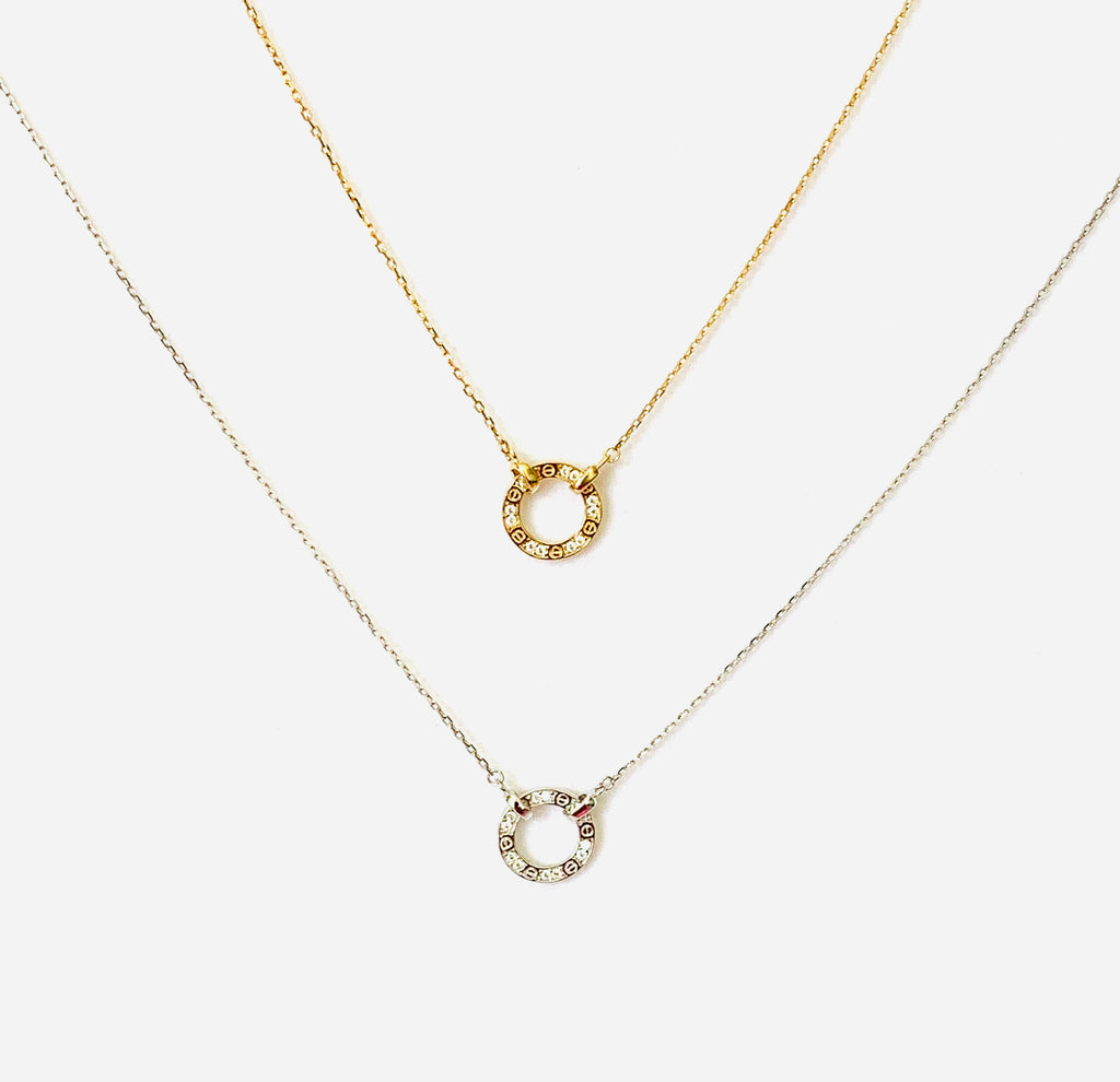 Necklace yellow gold vermeil with classic circle design and crystals - Ilumine Gallery Store dainty jewelry affordable fine jewelry