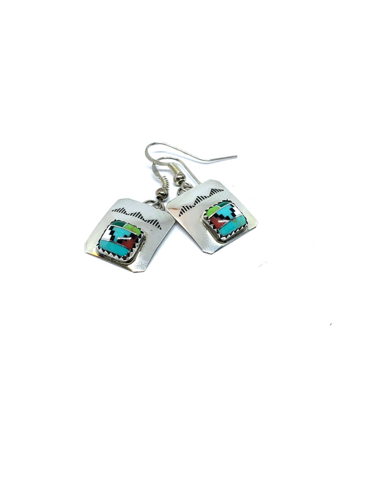 Earrings sterling silver with inlaid gemstones - Ilumine Gallery Store dainty jewelry affordable fine jewelry