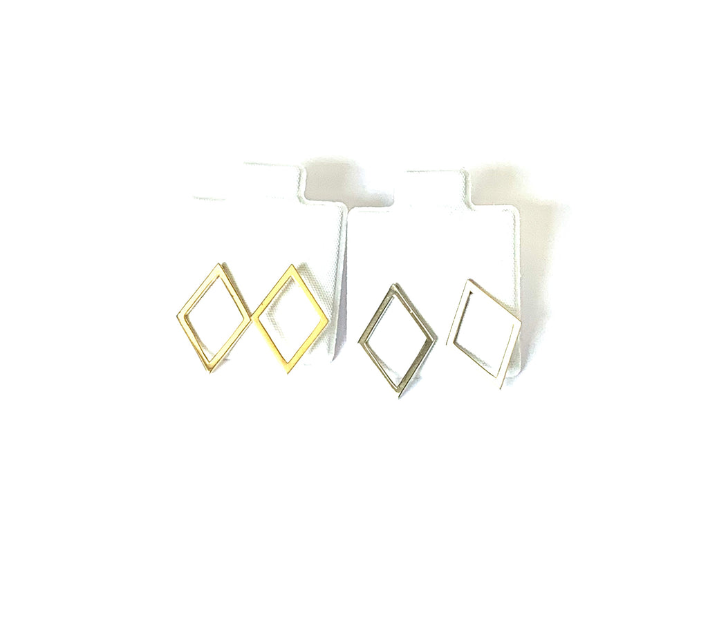 Earrings yellow gold and sterling silver diamond shape studs - Ilumine Gallery Store dainty jewelry affordable fine jewelry