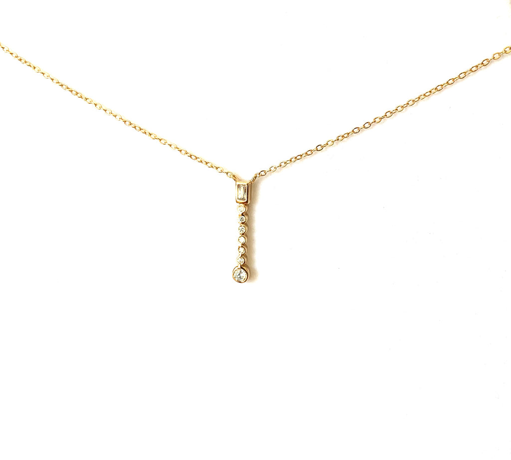 Necklace yellow gold overlay with cz stick pendant - Ilumine Gallery Store dainty jewelry affordable fine jewelry