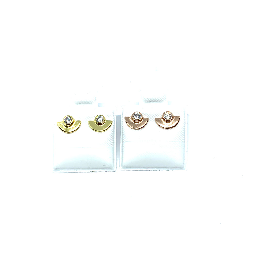 Yellow or rose gold vermeil half moon stud earrings - Ilumine Gallery Store dainty jewelry affordable fine jewelry