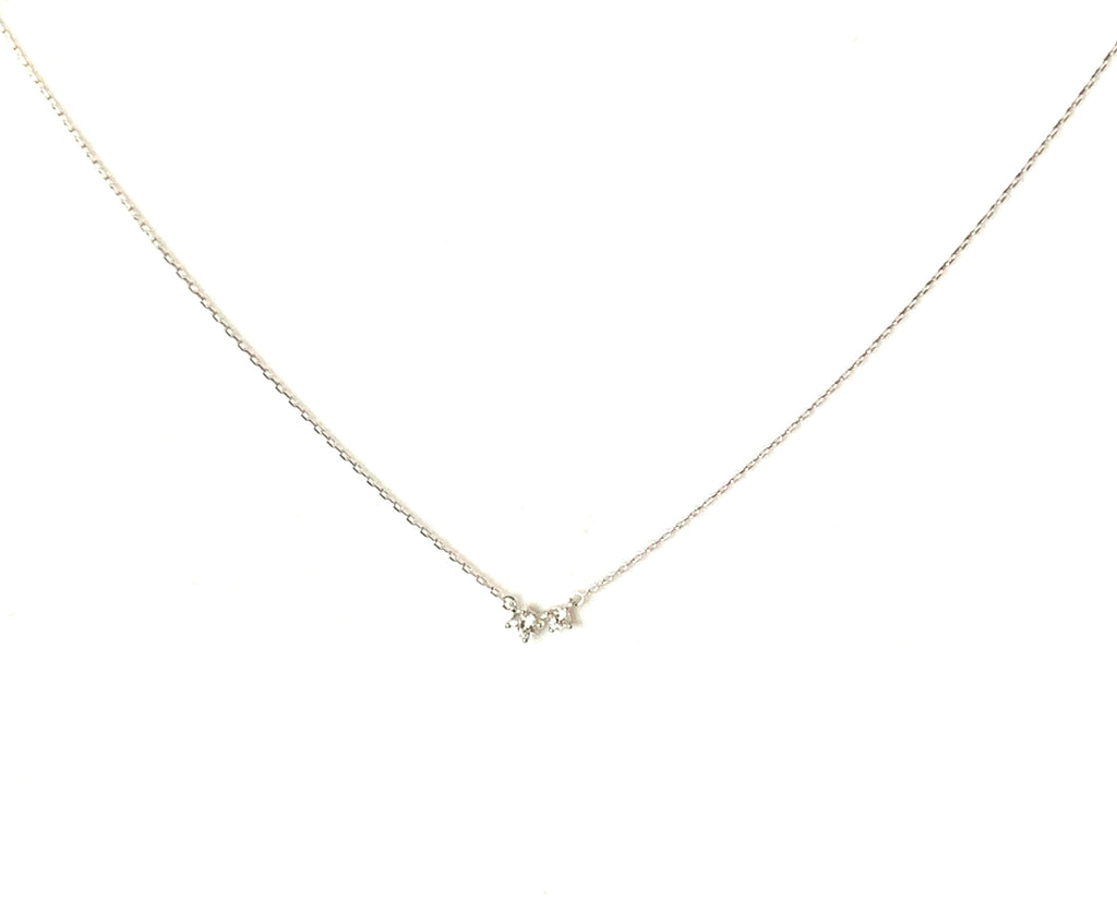 Necklace sterling silver with two cubic zirconia pendants - Ilumine Gallery Store dainty jewelry affordable fine jewelry