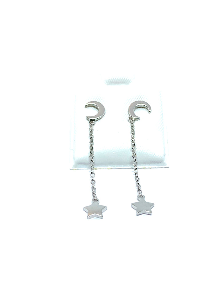 Earrings sterling silver moon and hanging stars - Ilumine Gallery Store dainty jewelry affordable fine jewelry