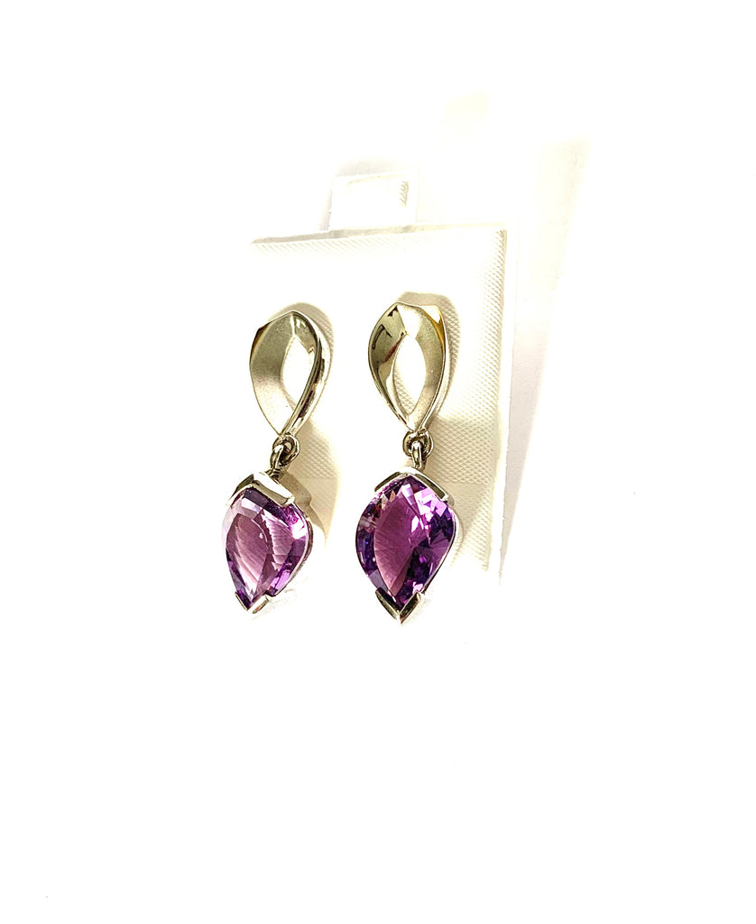 Earrings sterling silver 18kt white gold with amethyst gemstone - Ilumine Gallery Store dainty jewelry affordable fine jewelry