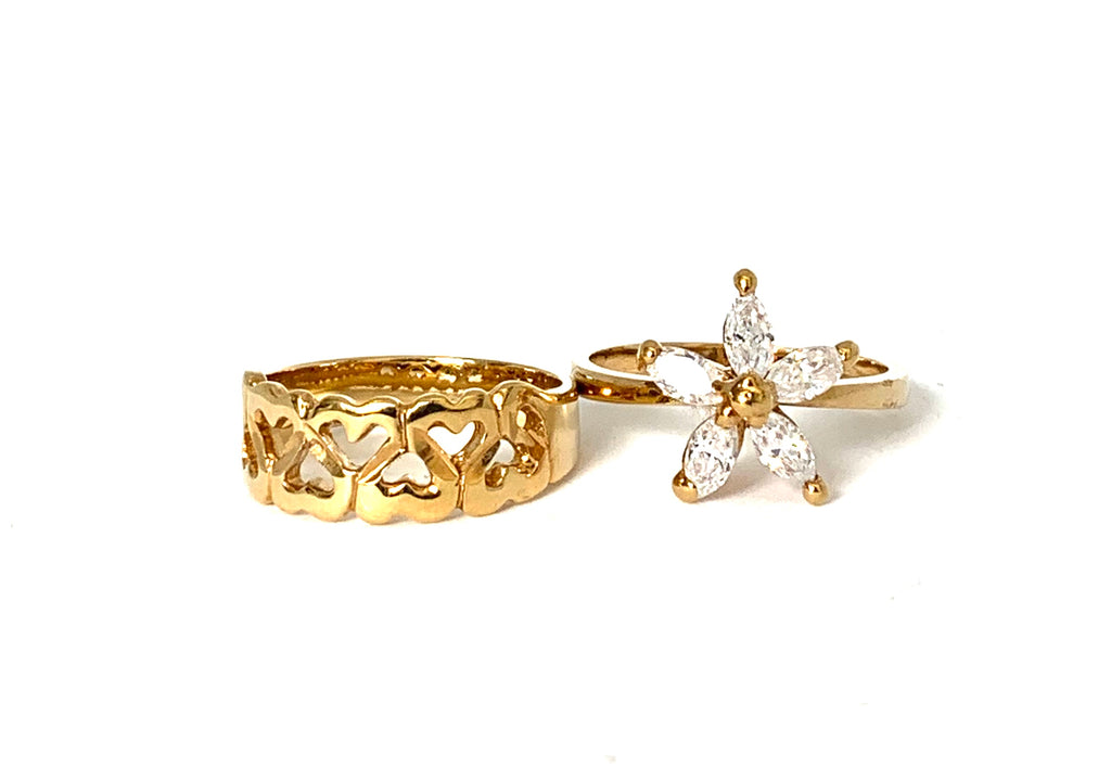 Rings yellow gold with hearts and crystal flower - Ilumine Gallery Store dainty jewelry affordable fine jewelry