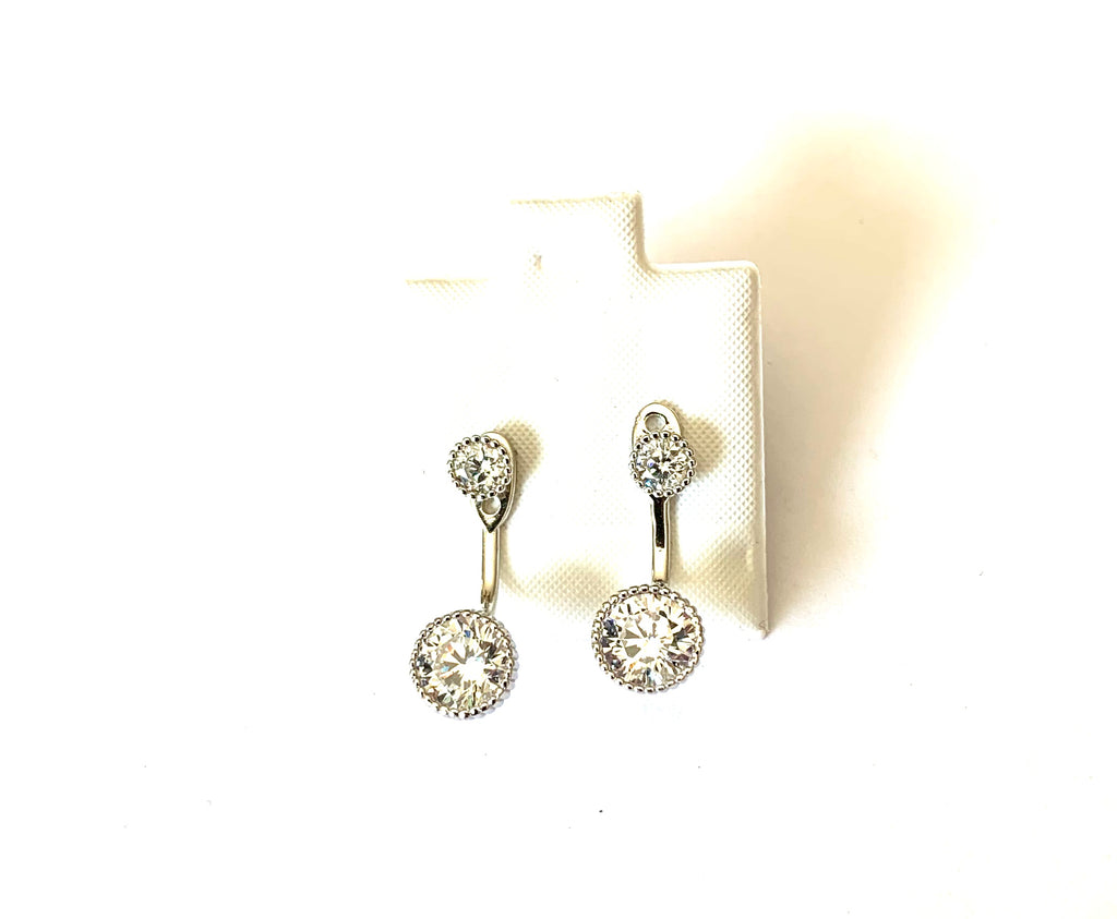 Earrings sterling silver with simulated diamonds - Ilumine Gallery Store dainty jewelry affordable fine jewelry