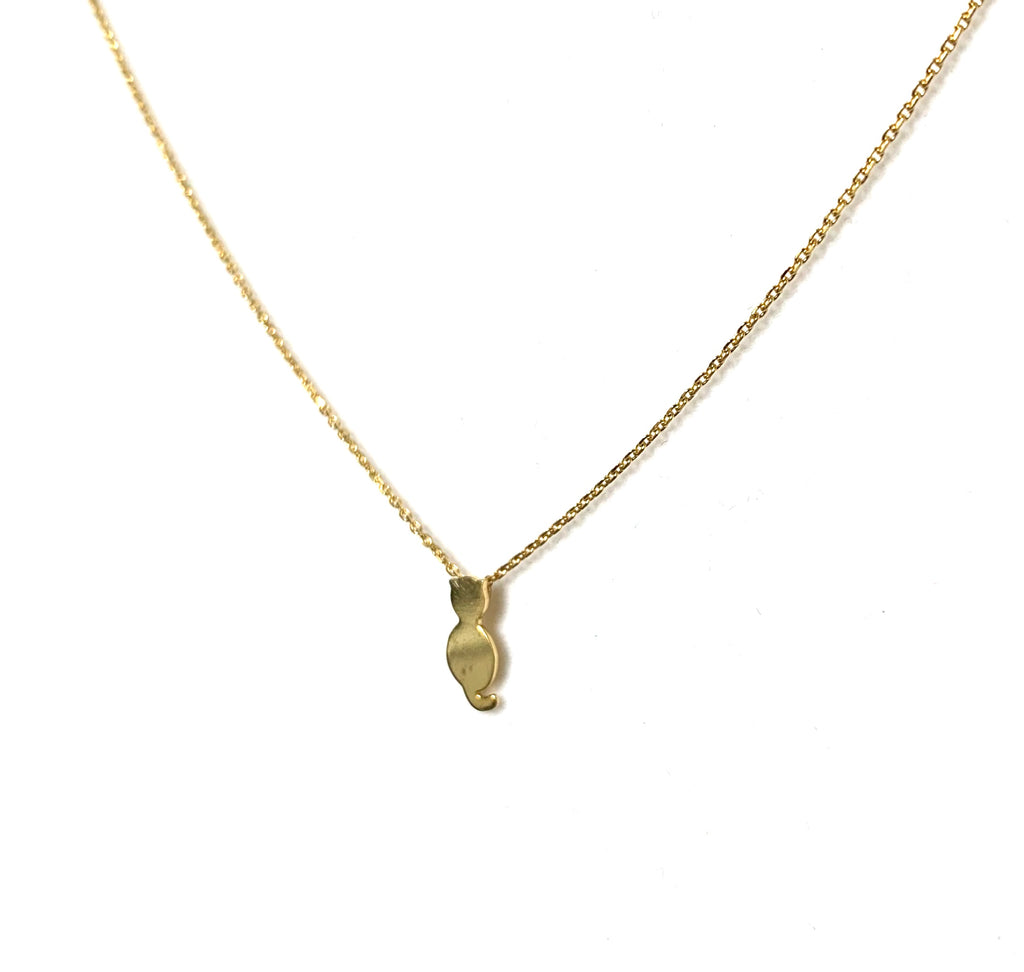 Necklace gold with cat pendant - Ilumine Gallery Store dainty jewelry affordable fine jewelry