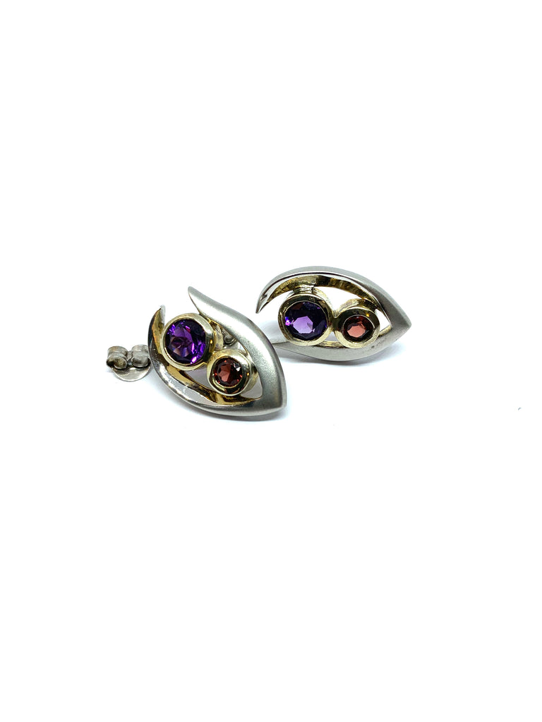 Amethyst and garnet earrings - Ilumine Gallery Store dainty jewelry affordable fine jewelry