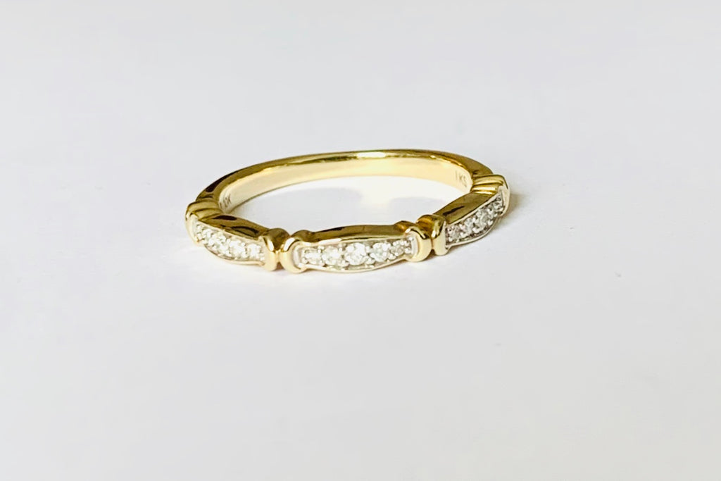 Ring solid yellow gold with diamonds band ring - Ilumine Gallery Store dainty jewelry affordable fine jewelry