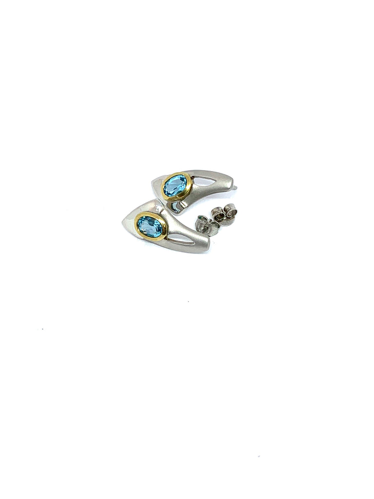 Gold and sterling silver blue topaz earrings - Ilumine Gallery Store