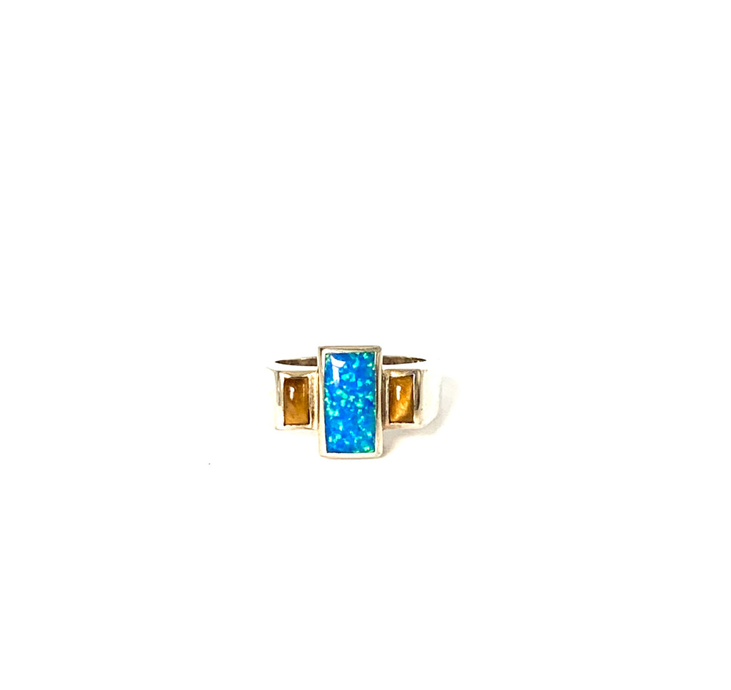 Ring sterling silver with opal and tigers eye - Ilumine Gallery Store dainty jewelry affordable fine jewelry