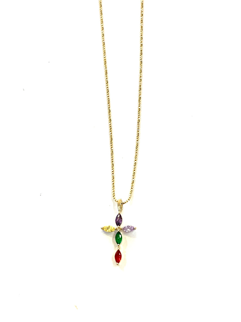 Gold gemstone cross necklace