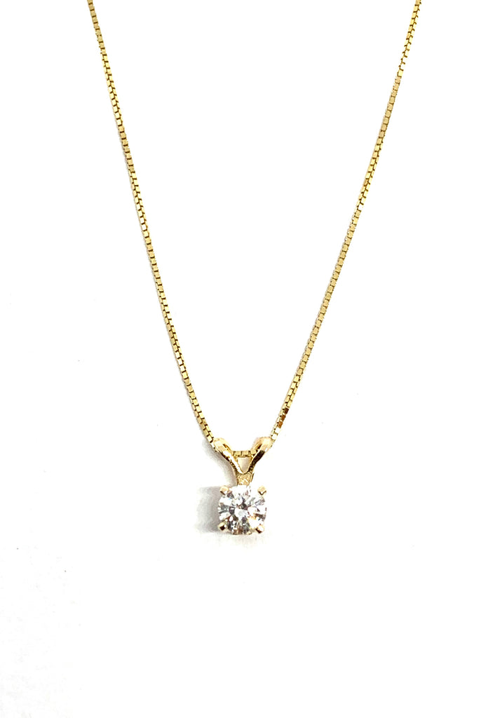 Solid yellow gold and diamond necklace