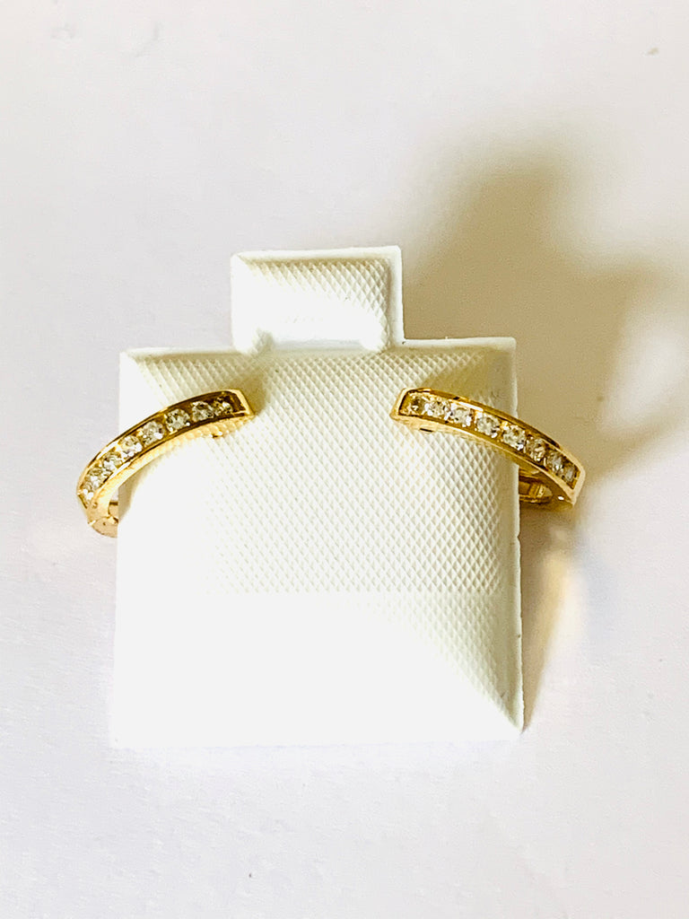 Earrings yellow gold crystal huggies - Ilumine Gallery Store dainty jewelry affordable fine jewelry