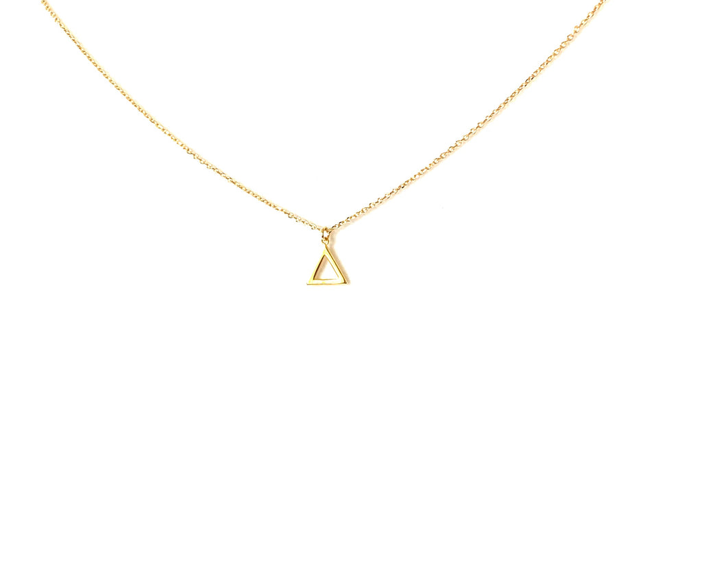 Necklace yellow gold with open triangle pendant - Ilumine Gallery Store dainty jewelry affordable fine jewelry